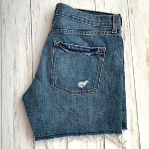 J Crew High Waist Distressed Denim Blue Shorts 29